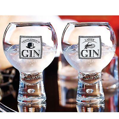 2x Alternato Gentlemen's & Ladies Gin Drinking Glasses 540ml Tonic Martini