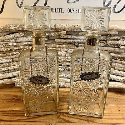 Set Of 2 Vintage Scotch And Rye Liquor Bottles