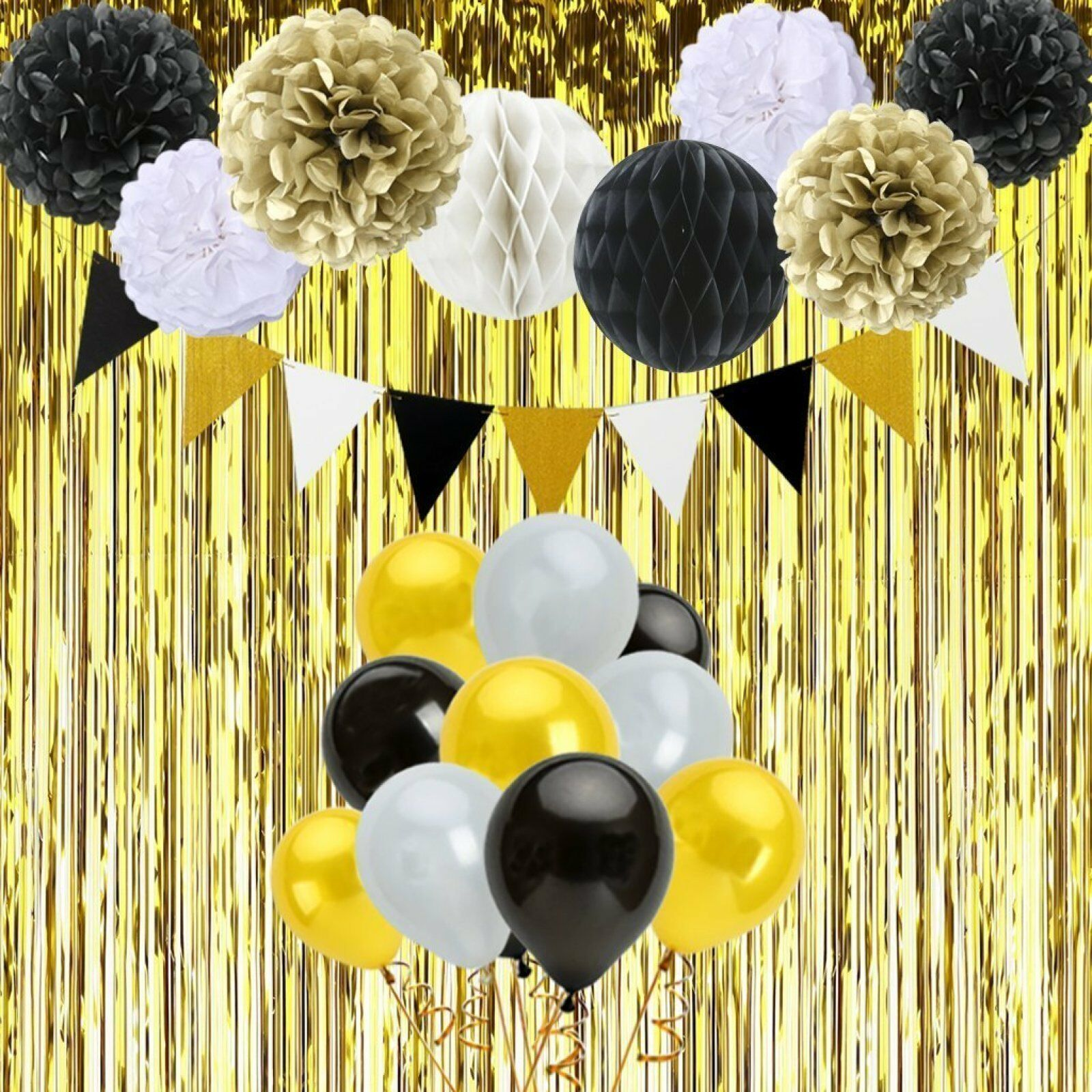 Black And Gold Birthday Decorations With Banner Pom Poms Balloons 48 Pcs