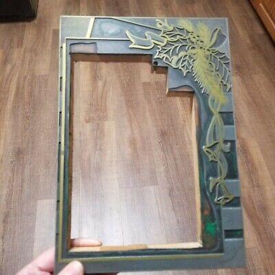 Vtg Letterpress Printing Block Christmas Frame With Holly Leaves Bells Ribbon