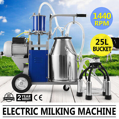 Usa Milker Electric Vacuum Pump Milking Machine Farm Cows Bucket 25l Stainless