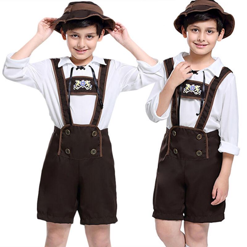 Kinder Jungen Trachtenhose Deutsches Oktoberfest Bayerische Lederhose Overall DE