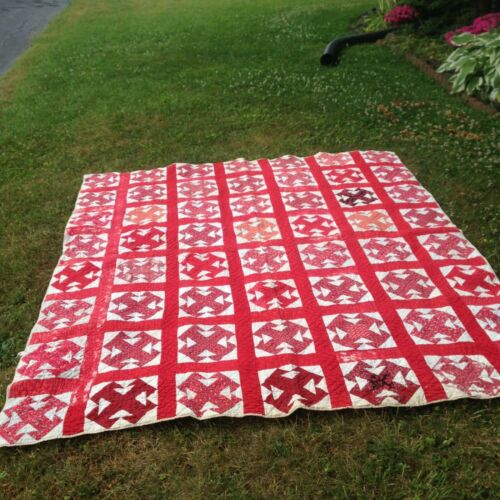 Antique Cutter Quilt Old Red prints 80 by 86 19th Century
