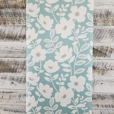 Brewster Bergman Teal Gray Scandinavian Modern Floral Farmhouse Kids Wallpaper ()