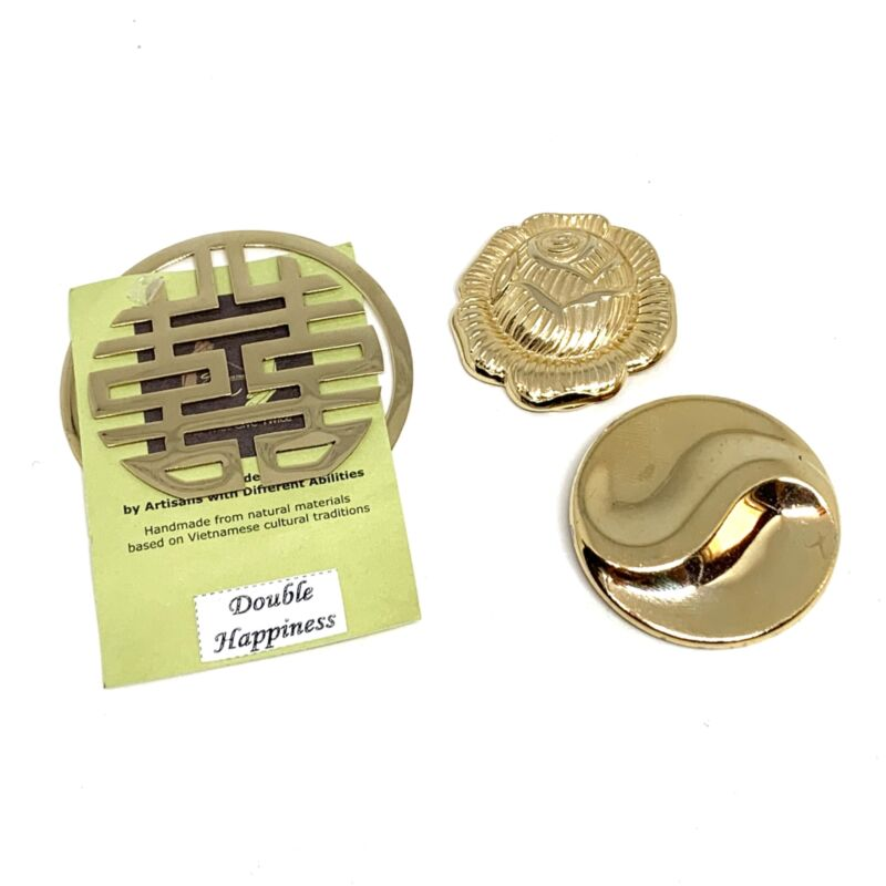 Scarf Clips Jeri Lou Rose Vietnamese Double Happiness Swirled Round Gold Tone