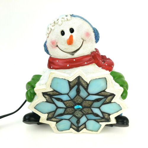 Stained Glass Snowman Accent Lamp Faux Stained Glass