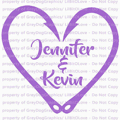 Custom Fish Hook Heart Personalized with Couple's Names Vinyl Decal Sticker](Couple Customs)