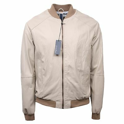check out 77a38 d2397 Details about C3114 giacca pelle uomo OVERPELL giacche beige leather jacket  man