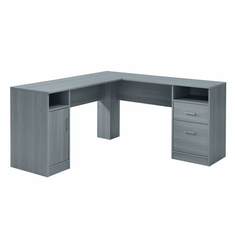 Techni Mobili Functional L-Shaped Desk with Storage, Grey