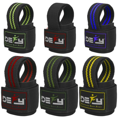 DEFY SPORTS™ Weight Lifting Gym Power Straps Grip Gloves Training Wrist Support