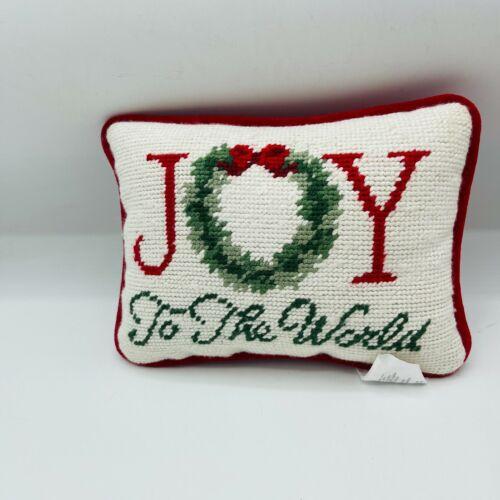 Joy To The World Needlepoint Pillow Christmas Holiday Velvet Backing Cottage