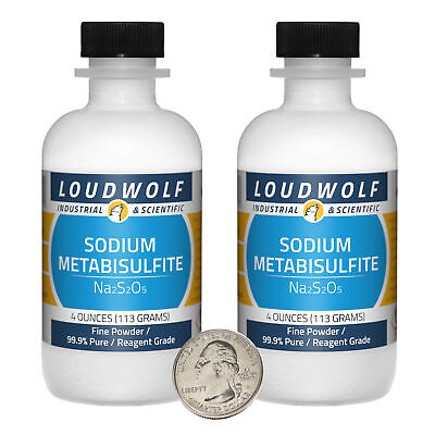 Sodium Metabisulfite 8 Oz 2 Bottles 99.9 Pure Reagent Grade Fine Powder