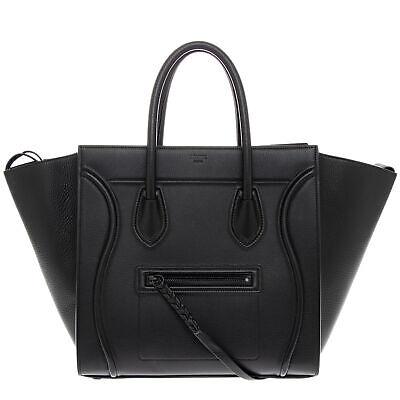 Celine Womens Medium Phantom Luggage Handbag in Supple Calfskin Black