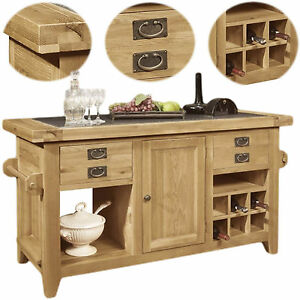 Panama Solid Oak Furniture Large Freestanding Granite Top Kitchen Island Unit