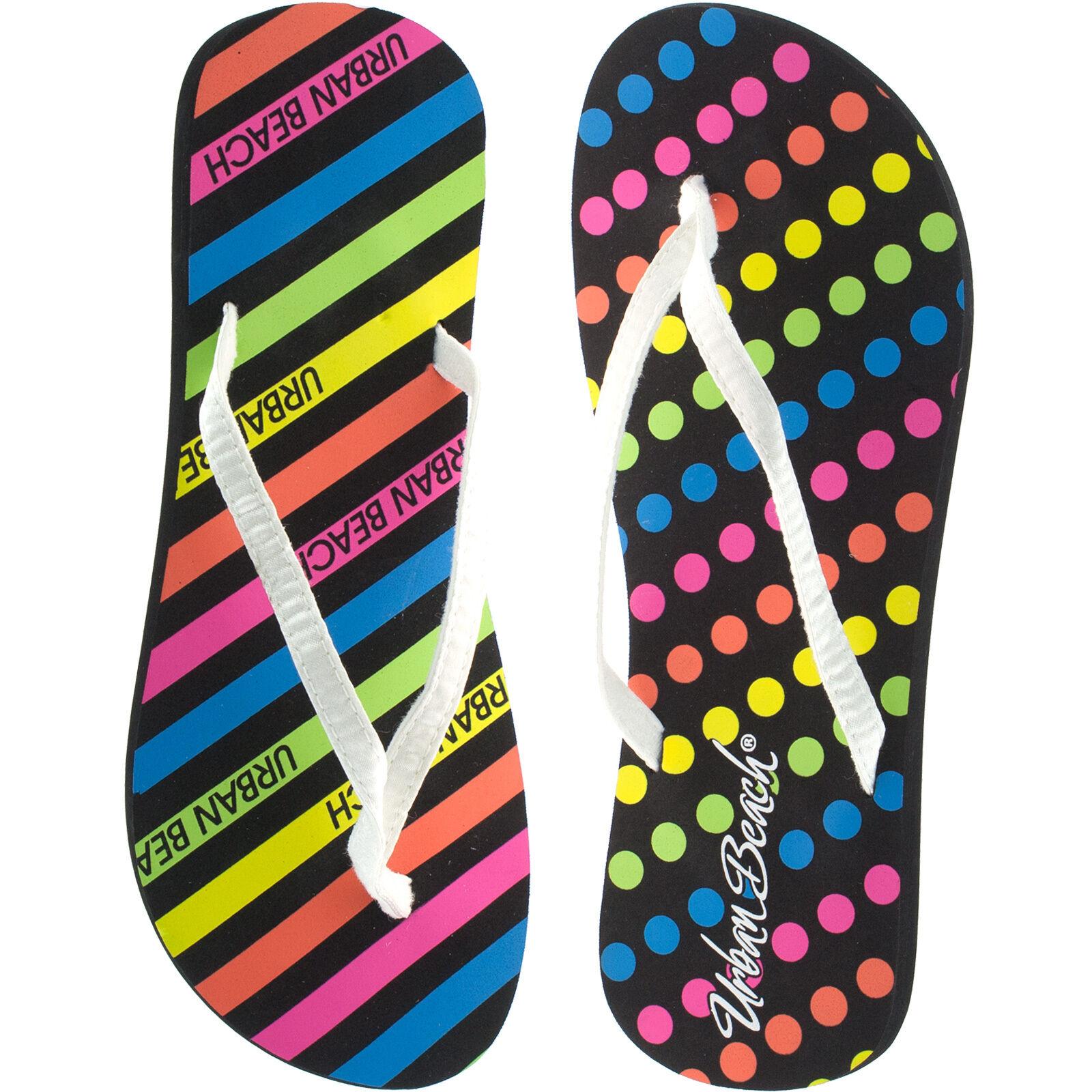 Ladies Urban Beach Flip Flops Size Uk 3 - 8 Neon Print -4545