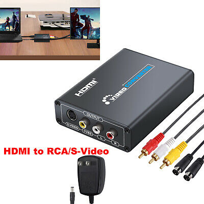 HDMI to Composite 3RCA AV S-Video R/L Audio Vdieo Converter Adapter Upscaler US