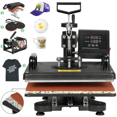 5 In 1 Heat Press Machine Digital Transfer Sublimation T-Shirt Mug Hat DIY Business & Industrial