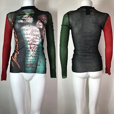 Rare Vtg Jean Paul Gaultier Multicolor Sheer Kiss Print Top S