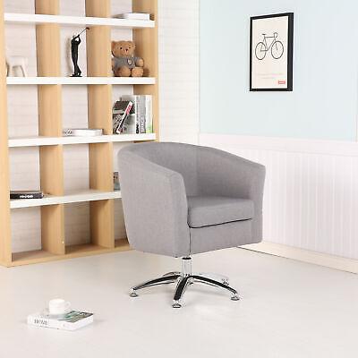 DESIGNER FABRIC SWIVEL TUB CHAIR ARMCHAIR DINING LIVING ROOM OFFICE - DARK GREY