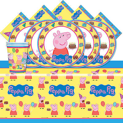 Peppa Pig Cartoon Children's Birthday Complete Party Tableware Pack Kit For 8