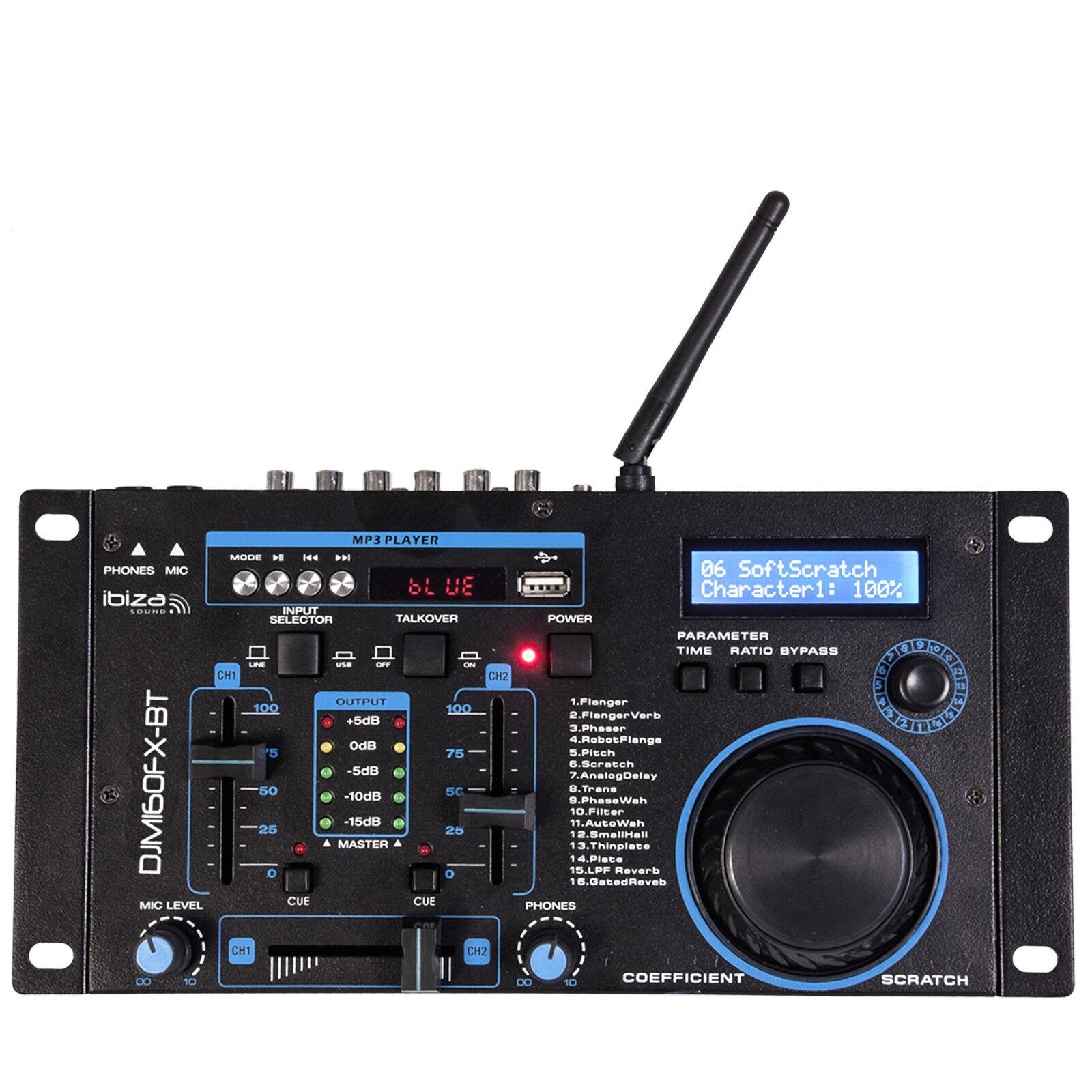 DJM160FX-BT IBIZA 2-Kanal DJ Mischpult MP3 DSP Effekt Mixer Audio USB Sound