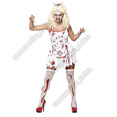 Damen Sexy Halloween Zombie Blutige Krankenschwester Kleid Kostüm Größen - Sexy Blutige Kleid Zombie Kostüm
