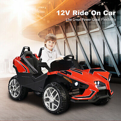 Electric 12V Kids Ride on Car 2 Seater Battery Racing RC Light Truck Music Red