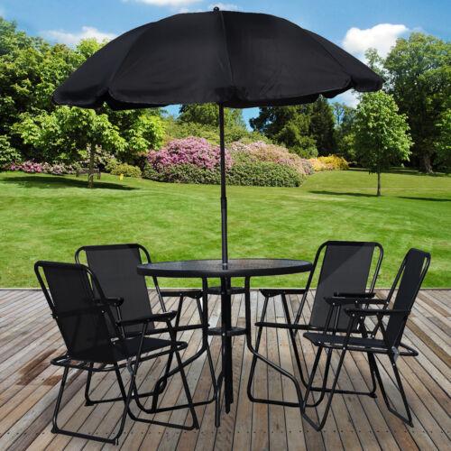 Garden Furniture - 6PC Garden Patio Furniture Set Outdoor Black 4 Seat Round Table Chairs & Parasol