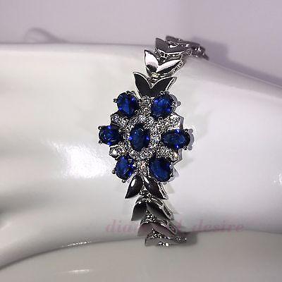 (Sterling Silver Finish Blue Sapphire Cubic Zirconia Tennis Bracelet CZ Crystal)