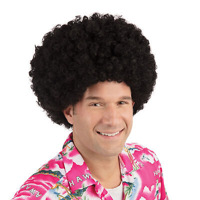 Erwachsene Herren Jumbo 1970s Schwarz Afro Budget Perücke Lockig Disco Kostüm