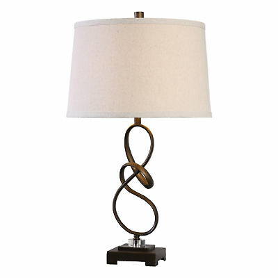 Bronze Twist Metal Ribbon Table Lamp | Elegant Open Brown Knot Sculpture Modern