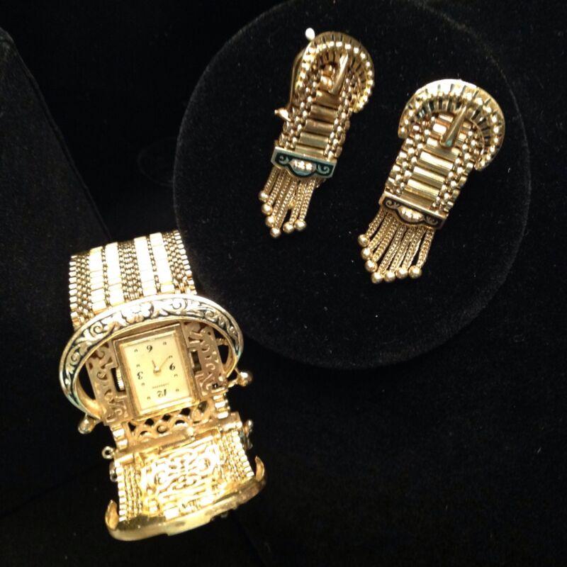 Antique 14k Y/Gold Belt Buckle Style  Enamel Bracelet Watch & Earrings Set 99 g