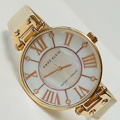 Anne Klein Big Face Women's Rose Gold MOP Dial Beige Leather  Watch 10/9918 RUNS