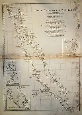 1765 Genuine Antique large map of the Red Sea. Golfe Arabique. by D'Anville