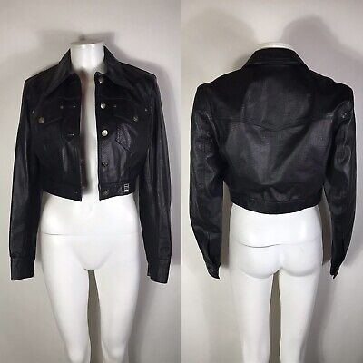 Rare Vtg Gianni Versace Jeans Black Faux Snakeskin Leather Jacket S