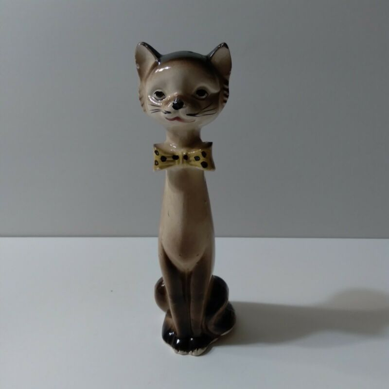 """Vintage Ceramic Cat figurine Made in Japan 6"""" Tall Long Neck"""
