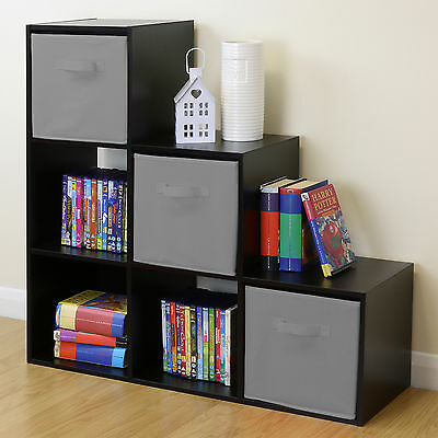 Black 6 Cube Kids Toy/Games Storage Unit Girls/Boys Bedroom Shelves 3 Grey Boxes