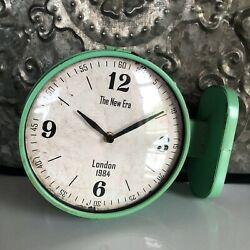 NEW~VINTAGE STYLE DOUBLE SIDED STATION WALL CLOCK~CHIPPY GREEN ENAMEL~WOW!