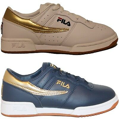Boys Girls Kids Fila ORIGINAL FITNESS Retro Premium LE White Navy Gold Gum Shoes - Boys Retro