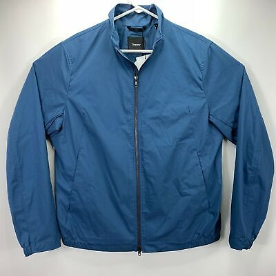 Theory Mens Draftbreak Stand Full-Zip Trim-Fit Stretch Tech Jacket Blue M Full Zip Stand
