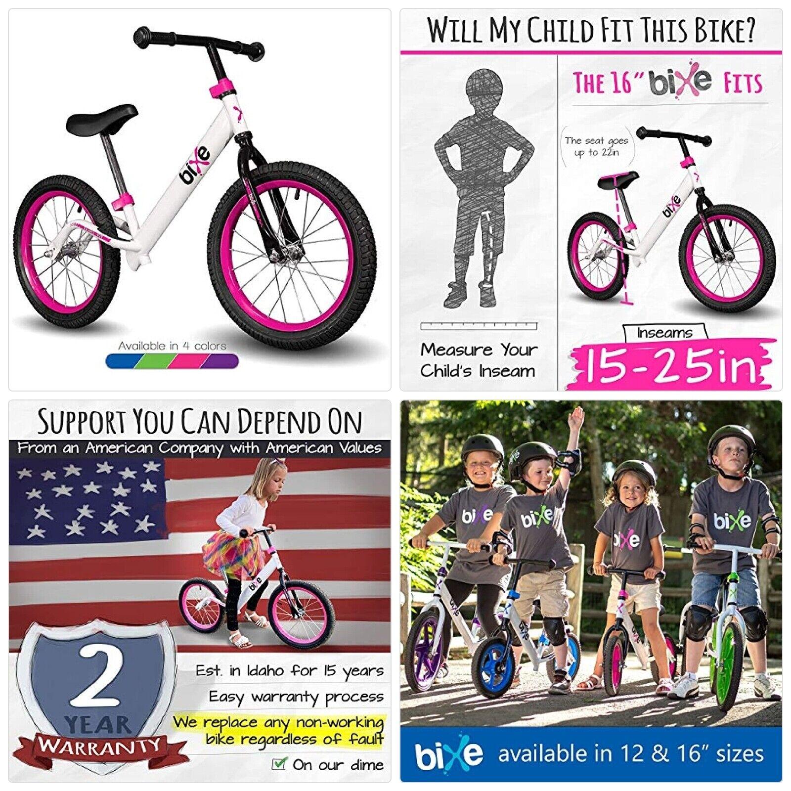 """Bixe 16"""" Pro Balance Bike for for Big Kids 5, 6, 7, 8 and 9"""
