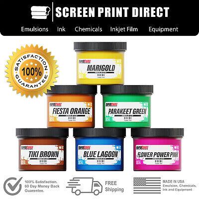 Screen Printing Plastisol Ink Kit Low Temp Cure 270f - 6 Tropical Colors - 8oz
