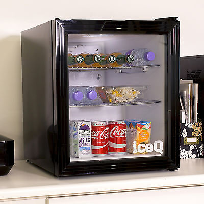 iceQ 49 Litre Glass Door Small Drinks Fridge For Wine, Beer, Bottles - Black