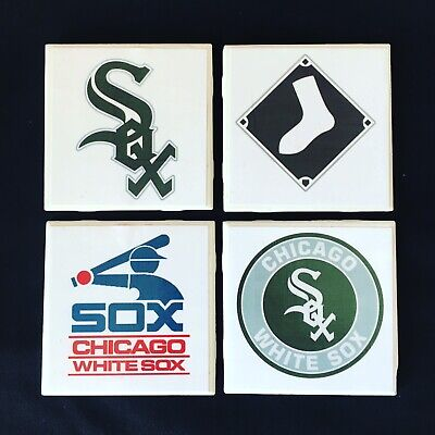 Chicago White Sox Baseball 4 pack ceramic coasters Mancave bar kitchen ()