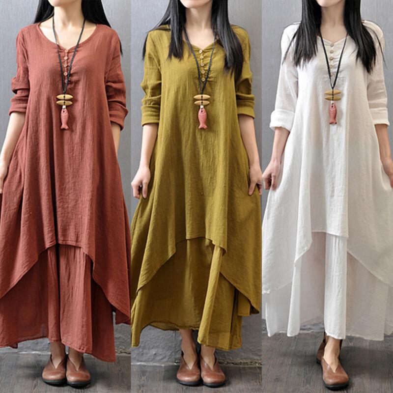 b0bbf5ae56b Plus Size Women s Ethnic Boho Cotton Linen Loose Long Sleeve Gypsy Maxi  Dress фото