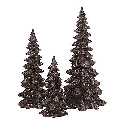 Dept 56 Brown Holiday Resin Trees Set of 3 4047560 NEW Christmas Village 2015