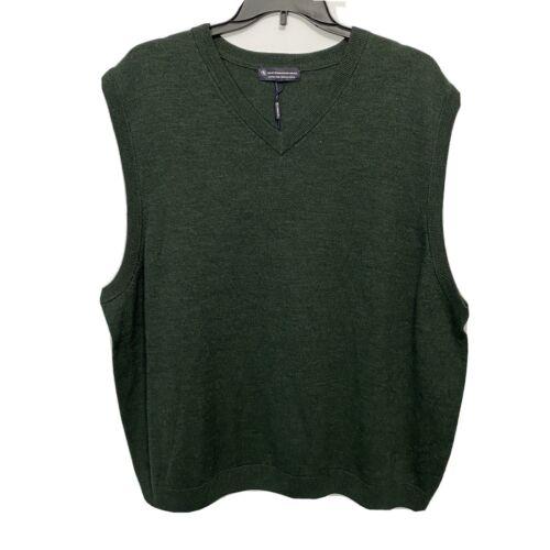 Hart Schaffner Marx V-Neck Sweater Vest 2XLT 2XT Green Merino Wool NWT Clothing, Shoes & Accessories