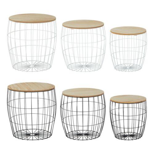 Couchtisch Beistelltisch Tisch mit Stauraum Metall Holz Nachttisch Weiß/Schwarz