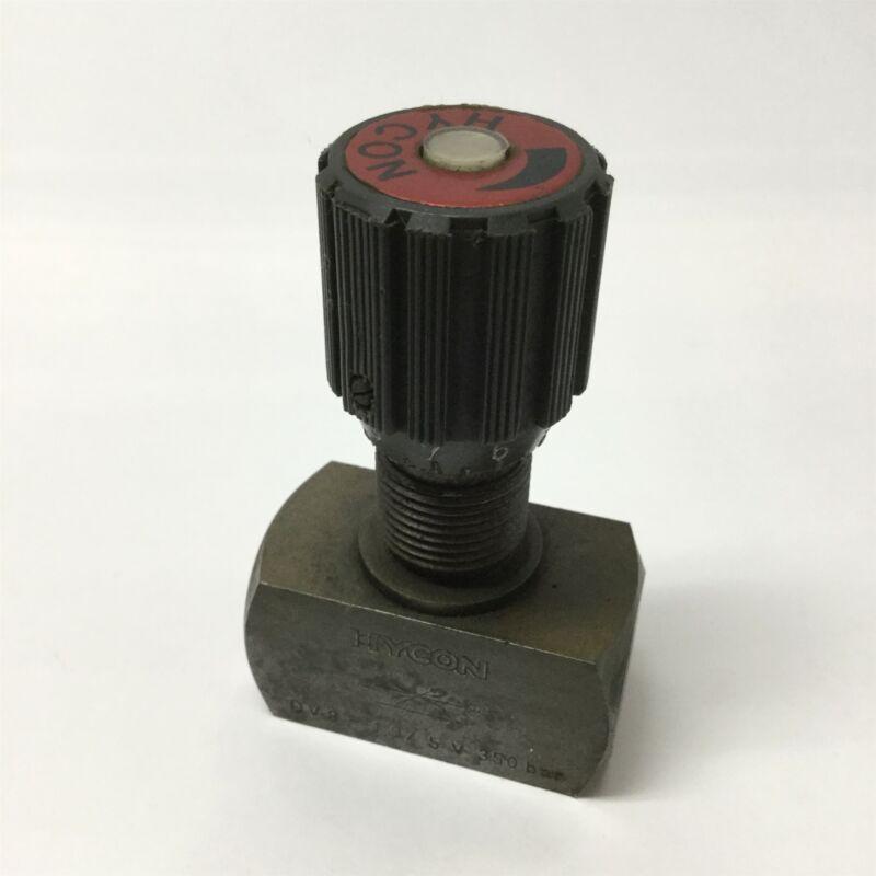 """Hycon DV8-1.0/5V Hydraulic Metering Bar Needle Shutoff Valve 5000psi, 1/4"""" NPT"""
