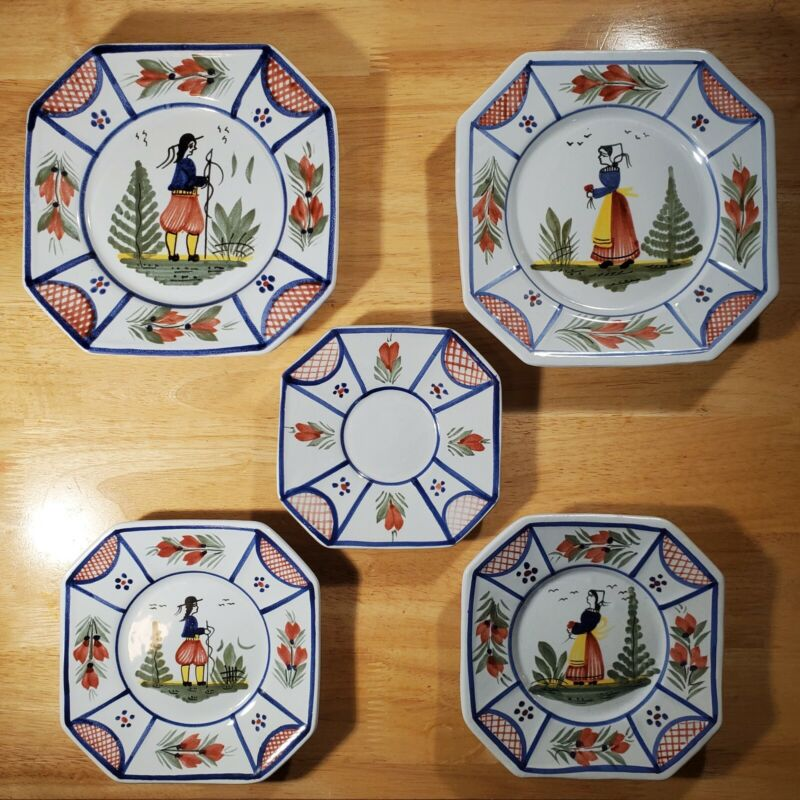 5 Antique Henriot Quimper Pottery France Breton Man & Women Faience Plates SET C